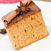 stock photo of ginger bread  - ginger bread with cinnamon and anise close up - JPG