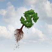 picture of export  - Money Flight business concept as a flying tree with uprooted roots shaped as a dollar sign as a symbol for financial exports and investing in new markets - JPG