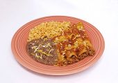 picture of mexican food  - A traditional Mexican meal featuring beef enchiladas - JPG