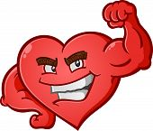 picture of muscle builder  - A sexy red heart cartoon character posing like a body builder and flexing his bulging muscles - JPG