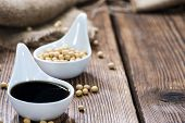 picture of soya beans  - Portion of Soy Sauce in a small bowl - JPG