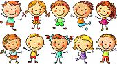 stock photo of ten  - Ten happy cartoon kids colored in a doodle style - JPG
