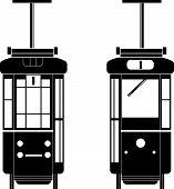 foto of tram  - a silhouette of a tram in front and back side - JPG
