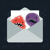 stock photo of angry  - Abstract illustration email spam angry virus infection - JPG