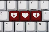 foto of hookup  - Online Dating A gray computer keyboard with man and woman symbol with a heart in red letters - JPG