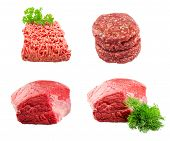 pic of hamburger-steak  - Set of Fresh beef slab with dill  - JPG