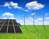 picture of turbines  - Solar energy panels and wind turbines - JPG