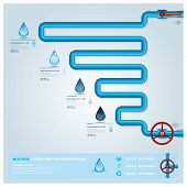 stock photo of pipeline  - Water Pipeline Ecology And Business Infographic Design Template - JPG