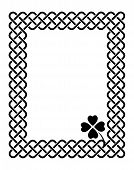 picture of celtic  - Traditional celtic style braided knot frame with a shamrock leaf black isolated on white - JPG