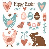 stock photo of hare  - Cute easter elements set with eggs hens hare hearts and flowers vector illustration - JPG