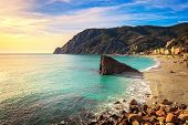 image of 5s  - Monterosso beach sea bay and rocks landscape - JPG