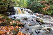 image of nationalism  - Autumn leaves are strewn along riverbanks and on rocks as Upper Chapel Falls cascades downriver at Pictured Rocks National Lakeshore near Munising Michigan - JPG