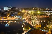 picture of dom  - Famous Dom Luis I bridge in Porto at twilight - JPG