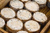 stock photo of stall  - Close up of goat cheese on a market stall - JPG