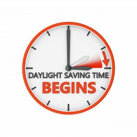 picture of time-saving  - time change to daylight saving time on white background - JPG