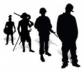 stock photo of musket  - Silhouettes of the Greek soldier - JPG