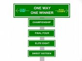 pic of ncaa  - Created photo of the final four stages to winning a NCAA championship road signs - JPG