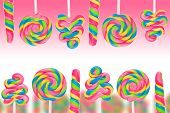 stock photo of lolli  - Fantasy sweet candy land with lollies on pink background - JPG