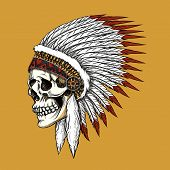 picture of indian chief  - Vector indian skull - JPG