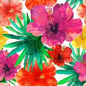 stock photo of hibiscus  - Abstract seamless watercolor hand painted background - JPG