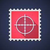 foto of crosshair  - Illustration of a red mail stamp icon with a crosshair - JPG