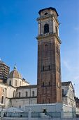 stock photo of turin  - Bell tower and Cathedral of Turin Italy - JPG