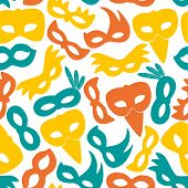 picture of carnival rio  - carnival rio color masks icons seamless pattern eps10 - JPG