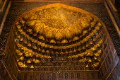 pic of mausoleum  - decorated ceiling in the Ghandil Khaneh of the Sheikh Safi mausoleum - JPG