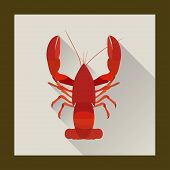 stock photo of crawfish  - Red crawfish in flat style  - JPG