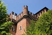 picture of turin  - Tower and rock in the medieval village of Turin Italy - JPG