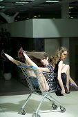 picture of trolley  - Two young sexy playful fashionable girls in dresses with shopping trolley indoor on store backdrop vertical picture - JPG