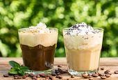 stock photo of whipping  - Ice coffee with milk and whipped cream - JPG