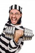 picture of inmate  - Prison inmate with dumbbells isolated on white - JPG