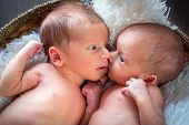 image of twin baby girls  - Boy and girl twins lying down together - JPG