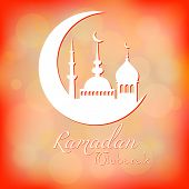 foto of eid al adha  - Card in peach color for congratulations with beginning of fasting month of Ramadan as well with Islamic holiday Eid al - JPG