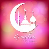 picture of eid al adha  - Card in pink color for congratulations with beginning of fasting month of Ramadan as well with Islamic holiday Eid al - JPG