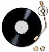 picture of lp  - A typical LP vinyl record with a blank labell turning on a record player over a white background - JPG
