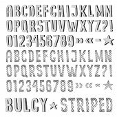 stock photo of bulge  - Striped and bulging font drawn by hand - JPG