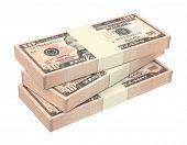 image of computer-generated  - Dollars money isolated on white background - JPG