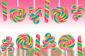 image of lolli  - Fantasy sweet candy land with lollies on pink background - JPG