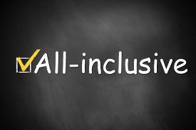 foto of all-inclusive  - dark black chalkboard checkbox checked all inclusive - JPG