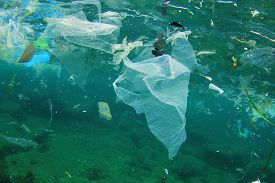 image of polluted  - Environmental problem of plastic rubbish pollution in ocean - JPG