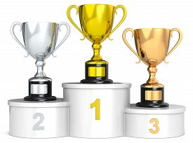 pic of trophy  - White podium with 3 Trophy cups - JPG