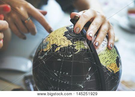 poster of Globe World Map Travel Explore Destination Concept