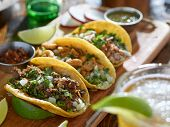 mexican street tacos in yellow tortilla with beef and pork poster