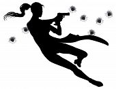 image of gunfights  - Female heroin leaping through the air in film style gunfight action sequence - JPG
