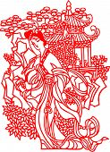 stock photo of kirigami  - Chinese traditional art paper cut - JPG
