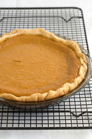 pic of pumpkin pie  - Fresh Baked Pumpkin Pie on a cooling rack - JPG