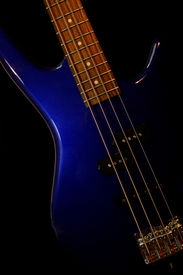 picture of ibanez  - A color photo of a Blue bass Guitar - JPG