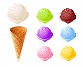 Ice Cream. Set Of Summer Sweetness. Milk, Chocolate, Vanilla, Strawberry Icecream. Cone Cup Ice-crea poster